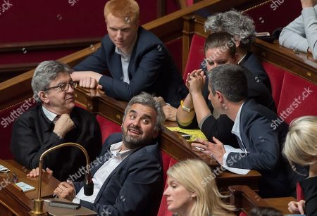 Jean-Luc Melenchon, Alexis Corbiere, Adrien Quatennens and Francois Ruffin during the weekly session of questions to the government at the National Assembly.