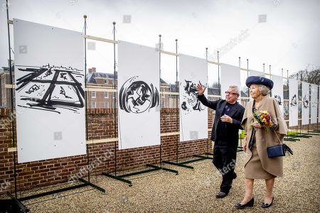 Dutch Princess Beatrix (R) and US architect Daniel Libeskind during the opening of Libeskind's exhibition 'The Garden of Earthly Worries' in the garden of Palace Het Loo in Apeldoorn, The Netherlands, 02 April 2019. The exhibit marks the first time that contemporary art is on show in the garden of Paleis Het Loo.