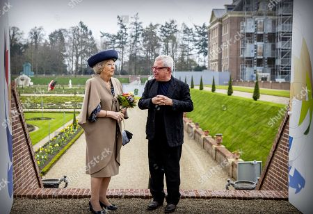 Dutch Princess Beatrix (L) and US architect Daniel Libeskind during the opening of Libeskind's exhibition 'The Garden of Earthly Worries' in the garden of Palace Het Loo in Apeldoorn, The Netherlands, 02 April 2019. The exhibit marks the first time that contemporary art is on show in the garden of Paleis Het Loo.