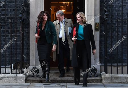 (L-R) Minister of State for Energy and Clean Growth, Claire Perry, Secretary of State for Education, Damian Hinds and Secretary of State for Work and Pensions, Amber Rudd depart Downing Street following and eight hour cabinet meeting  in London, Britain, 02 April 2019. British Prime Minister Theresa May has stated that she will request a short extension from the EU.