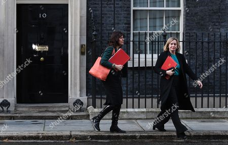 British Minister of State for Energy and Clean Growth, Claire Perry (L) and Secretary of State for Work and Pensions, Amber Rudd (R) depart Downing Street following and eight hour cabinet meeting  in London, Britain, 02 April 2019. British Prime Minister Theresa May has stated that she will request a short extension from the EU.