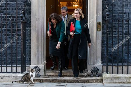 London, UK. Minister of State at Department for Business, Energy and Industrial Strategy Claire Perry (L), Education Secretary Damian Hinds (centre), and Secretary of State for Work and Pensions Amber Rudd (R) leave 10 Downing Street after Prime Minister May delivered a statement announcing that she will seek a further extension of Article 50.
