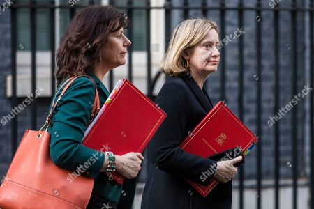 London, UK. Minister of State at Department for Business, Energy and Industrial Strategy Claire Perry (L) and Secretary of State for Work and Pensions Amber Rudd (R) leave 10 Downing Street after Prime Minister May delivered a statement announcing that she will seek a further extension of Article 50.