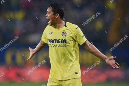 Carlos Bacca of Villarreal CF reacts