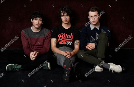 Cole Preston, Braeden Lemasters, Dylan Minnette. This photo shows Braeden Lemasters, from left, Cole Preston and Dylan Minnette of the indie rock band Wallows posing for a portrait at SIR Studios in Los Angeles