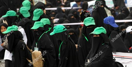 Houthi female supporters stand guard during a rally commemorating the anniversary of the killing of founder of the Houthi movement, Hussein Badreddin al-Houthi, in Sana?a, Yemen, 02 April 2019. The founder of the Houthi movement, Hussein al-Houthi was killed in the 2004 conflict between the Shiite Houthi fighters and the former regime of president Ali Abdullah Saleh. The Houthis could take control on the northern province of Saada in 2011 after an uprising broke out against slain president Saleh. In September 2014, they took over the capital Sana?a and other parts of the country.