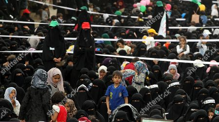 Houthi female supporters and their children attend a rally commemorating the anniversary of the killing of founder of the Houthi movement, Hussein Badreddin al-Houthi, in Sana?a, Yemen, 02 April 2019. The founder of the Houthi movement, Hussein al-Houthi was killed in the 2004 conflict between the Shiite Houthi fighters and the former regime of president Ali Abdullah Saleh. The Houthis could take control on the northern province of Saada in 2011 after an uprising broke out against slain president Saleh. In September 2014, they took over the capital Sana?a and other parts of the country.
