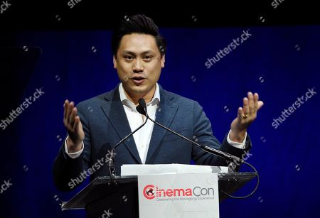 """Stock Image of Jon Chu, director of """"Crazy Rich Asians,"""" addresses the audience during """"The State of the Industry"""" presentation at CinemaCon 2019, the official convention of the National Association of Theatre Owners (NATO) at Caesars Palace, in Las Vegas, Nev"""