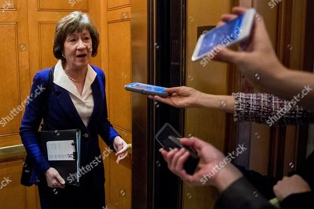 Sen. Susan Collins, R-Maine, speaks to reporters following a Senate policy luncheon on Capitol Hill in Washington