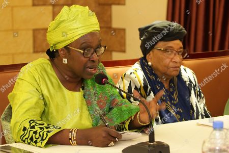 Stock Photo of Mme Bineta Diop (L), Special Envoy on Women, Peace and Security of the African Union speaks next to former Liberian president, Ellen Johnson Sirleaf (2), at the close of the two-day meeting at the Boulevard Plaza Hotel in Monrovia, Liberia, 02 April 2019.  African Women leaders are meeting for Strategic Steering Committee for the purpose of serving as a foundation for launch of the Liberia Women Leadership Network, and lend their voices to critical issues in Liberia and mentor young women interested in leadership.