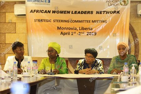 Former Liberian president, Ellen Johnson Sirleaf (2-R), Mme Bineta Diop (2-L), Special Envoy on Women, Peace and Security of the African Union, Mrs. Marie Goreth Nizigama (L), UN Women Country Representative in Liberia, Zainab Bangura (R) of Sierra Leone, attend the close of the two- day meeting at the Boulevard Plaza Hotel in Monrovia, Liberia, 02 April 2019.  African Women leaders are meeting for Strategic Steering Committee for the purpose of serving as a foundation for launch of the Liberia Women Leadership Network, and lend their voices to critical issues in Liberia and mentor young women interested in leadership.