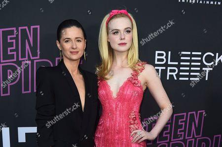 "Agnieszka Grochowska, Elle Fanning. Agnieszka Grochowska, left, and Elle Fanning arrive at a special screening of ""Teen Spirit"" at ArcLight Hollywood, in Los Angeles"