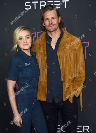 """AJ Michalka, Josh Pence. AJ Michalka, left, and Josh Pence arrive at a special screening of """"Teen Spirit"""" at ArcLight Hollywood, in Los Angeles"""