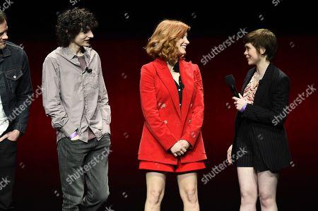 Finn Wolfhard, Jessica Chastain and Sophia Lillis