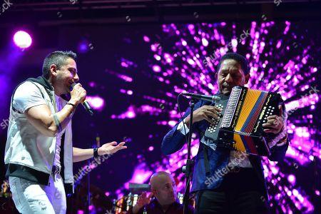 Jorge Celedon and Israel Romero performs during 'Boletos a La Venta Ya'