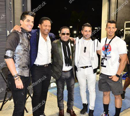Jean Carlo Centeno, Israel Romero, Jorge Celedon and singer Hector A Costa backstage during 'Boletos a La Venta Ya'