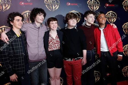 US actor Jack Grazer, Canadian actor Finn Wolfhard, US actress Sophia Lillis, US actor Jeremy Ray Taylor, US actor Wyatt Oleff and US actor Chosen Jacobs pose for photographers at the exclusive presentation of Warner Bros. Pictures 'The Big Picture' during CinemaCon 2019 at The Colosseum at in Caesars Palace in Las Vegas, Nevada, USA, 02 April 2019. CinemaCon 2019 is the official convention of the National Association of Theatre Owners (NATO) and runs from 01 to 04 April 2019.