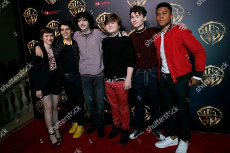 Sophia Lillis, US actor Jack Grazer, Canadian actor Finn Wolfhard, US actor Jeremy Ray Taylor, US actor Wyatt Oleff and US actor Chosen Jacobs pose for photographers at the exclusive presentation of Warner Bros. Pictures 'The Big Picture' during CinemaCon 2019 at The Colosseum at in Caesars Palace in Las Vegas, Nevada, USA, 02 April 2019. CinemaCon 2019 is the official convention of the National Association of Theatre Owners (NATO) and runs from 01 to 04 April 2019.