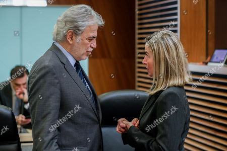 European Commissioner for Humanitarian Aid and Crisis Management Christos Stylianides (L) and European Union High Representative for Foreign Affairs and Security Policy Federica Mogherini attend a weekly college meeting of the European Commission in Brussels, Belgium, 3 April 2019.