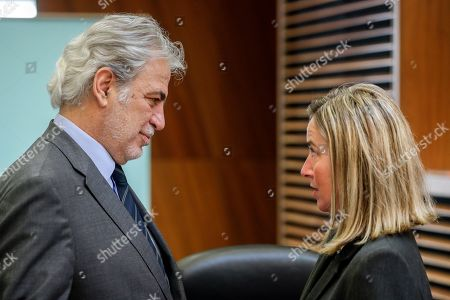 The European Commissioner for Humanitarian Aid and Crisis Management Christos Stylianides (L) and European Union High Representative for Foreign Affairs and Security Policy Federica Mogherini attend a weekly college meeting of the European Commission in Brussels, Belgium, 3 April 2019.