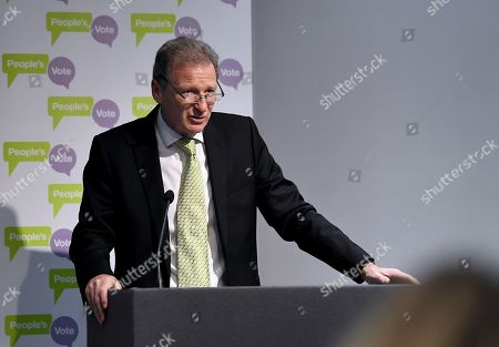 Stock Picture of Lord Sir Gus O'Donnell, former Cabinet Secretary, speech at a People's Vote press conference setting out solutions to Brexit crisis
