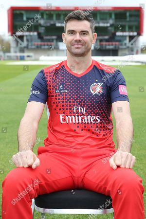 Stock Photo of Lancashires James Anderson during the Lancashire County Cricket Club at the Emirates, Old Trafford, Manchester