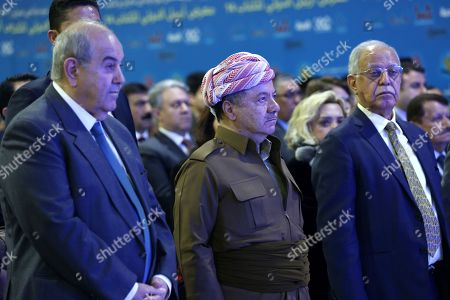 Former president of the Kurdistan Region the head of the Kurdistan Democratic Party Masoud Barzani (C), Iraqi politician Ayad Allawi (L) and head of Almada for Media Culture and Arts group Fakhri Karim (R) attend the opening ceremony of the 14th Erbil International Book Fair in Erbil, the capital of the Kurdistan Region, Iraq, 03 April 2019. According to the organizers, around 300 exhibitors from over 20 countries are taking part in the fair running till 13 April. Organizers has reportedly banned books that are said to promote extremist ideology.