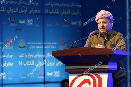 Former president of the Kurdistan Region the head of the Kurdistan Democratic Party Masoud Barzani delivers a speech during the opening ceremony of the 14th Erbil International Book Fair in Erbil, the capital of the Kurdistan Region, Iraq, 03 April 2019. According to the organizers, around 300 exhibitors from over 20 countries are taking part in the fair running till 13 April. Organizers has reportedly banned books that are said to promote extremist ideology.
