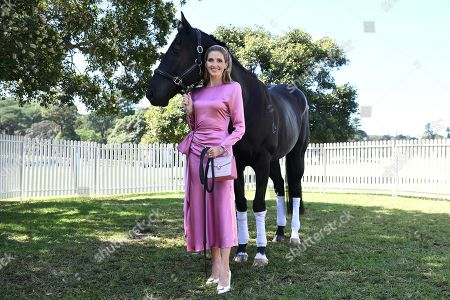 Kate Waterhouse poses for a photograph with horse This Is Australia at a lunch hosted by the Australian Turf Club, at Centennial Parklands in Sydney, Australia, 03 April 2019.