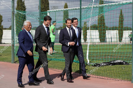 Dutch's Prime Minister Mark Rutte (2-L) flanked by Portugal's Prime Minister Antonio Costa (L), Sporting's President Frederico Varandas (2-R) and by Secretary of State for Youth and Sports Joao Paulo Rebelo (D) during their visit to Sporting's soccer Academy in Alcochete, Portugal, 03 April 2019.