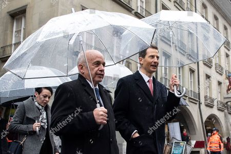 Hereditary Prince Alois of Liechtenstein (R) and Swiss Federal President Ueli Maurer (L) walk in the Kramgasse during a visit to Bern, Switzerland, 03 April 2019. Royal couple arrive for a two day state visit to Switzerland.