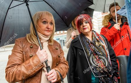 Hillsborough victims family members Jenny Hicks (L) and Christine Burke (R) outside Preston Crown Court, north west England 03 April 2019. Media reports on 03 April 2019 state Graham Mackrell has was found guilty at Preston Crown Courtof failing to discharge his duty under the Health and Safety at Work Act by a majority of 10 to two. Graham Mackrell was Sheffield Wednesday  club secretary Graham Mackrell at time of the English soccer FA Cup semi final between Liverpool and Nottingham Forest at the Sheffield Wednesday ground in Sheffield, northern England on 15 April 1989 where 95 Liverpool supporters died. The jury in the trial of Hillsborough match commander David Duckenfield has been unable to reach a verdict at Preston Crown Court where he is facing charges of the manslaughter of 95 Liverpool supporters. The Crown Prosecution Service has indicated it will seek a retrial for David Duckenfield. David Duckenfield was the police match commander at the English soccer FA Cup semi final between Liverpool and Nottingham Forest at the Sheffield Wednesday ground in Sheffield, northern England on 15 April 1989. Duckenfield denies all charges.