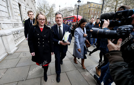 Sir Keir Starmer, Rebecca Long-Bailey and Seumas Milne leave the Cabinet Office following a Brexit meeting