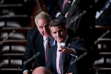 Rep. John Shimkus, R-Ill., left, and Rep. Adam Kinzinger, R-Ill., right, arrive before NATO Secretary General Jens Stoltenberg addresses a Joint Meeting of Congress on Capitol Hill in Washington, having been invited by the bipartisan leadership of the House of Representatives and the Senate