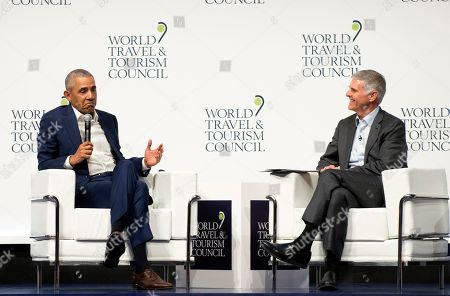 Stock Photo of Former U.S President Barack Obama speaks to audience at the World Travel & Tourism Council 2019 Global Summit in Seville, Spain