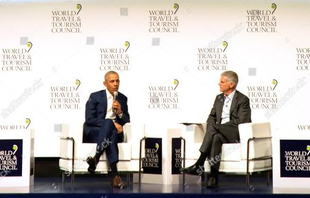 Stock Picture of Former U.S President Barack Obama speaks to audience at the World Travel & Tourism Council 2019 Global Summit in Seville, Spain