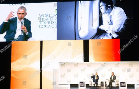 Stock Image of Former U.S President Barack Obama speaks to audience at the World Travel & Tourism Council 2019 Global Summit in Seville, Spain