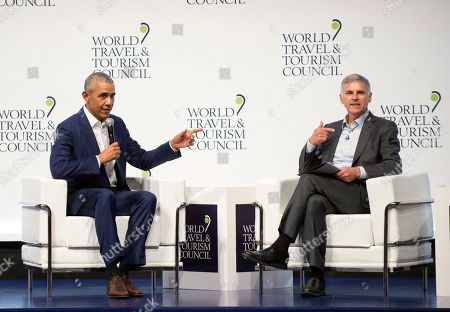 Former U.S President Barack Obama speaks to audience at the World Travel & Tourism Council 2019 Global Summit in Seville, Spain