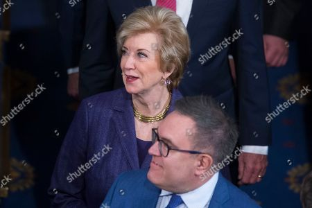 Outgoing Administrator of the Small Business Administration Linda McMahon (Top) and Administrator of the US Environmental Protection Agency (EPA) Andrew Wheeler (Bottom) arrive to attend an address by NATO Secretary General Jens Stoltenberg (unseen) at a joint meeting of the US Congress, on Capitol Hill in Washington, DC, USA, 03 April 2019. Secretary General Stoltenberg delivers his address ahead of the meeting of foreign ministers that is being held in Washington this week to mark the seventieth anniversary of the signing of the North Atlantic Treaty. The Alliance was created 04 April, 1949, in Washington, DC.