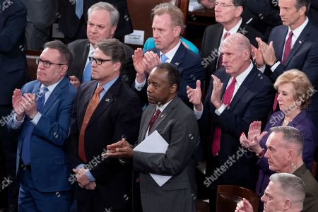 Cabinet members of the Trump administration, military personnel and lawmakers attend an address by NATO Secretary General Jens Stoltenberg (unseen) at a joint meeting of the US Congress, on Capitol Hill in Washington, DC, USA, 03 April 2019. In this picture; Administrator of the EPA Andrew Wheeler (Front L),  US Secretary of Energy Rick Perry (Front C), US Secretary of Housing and Urban Development Ben Carson (Front R), Acting US Secretary of Defense Patrick Shanahan (Center 2-L), US Director of National Intelligence Daniel Coats (Center 2-R), outgoing Administrator of the Small Business Administration Linda McMahon (Center R) and US Chairman of the Joint Chiefs of Staff Joseph Dunford  (Bottom R).