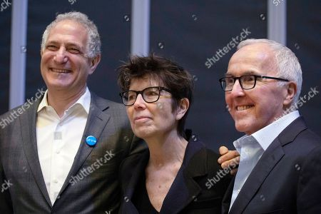 Dan Doctoroff, left, Chairman of the Board, lead architect Elizabeth Diller, center, and board member Frank McCourt, Jr. pose for photos during a media availability at The Shed, an arts center at New York's Hudson Yards