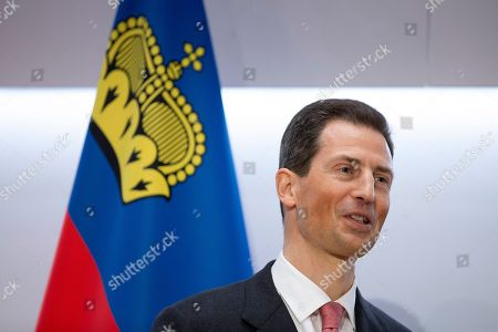 H.R.H. Hereditary Prince Alois of Liechtenstein speaks during a press conference, on the first of a two day state visit, in Bern, Switzerland, on 03 April 2019