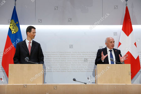 Swiss Federal President Ueli Maurer, right, speaks beside H.R.H. Hereditary Prince Alois of Liechtenstein during a press conference, on the first of a two day state visit, in Bern, Switzerland, on 03 April 2019