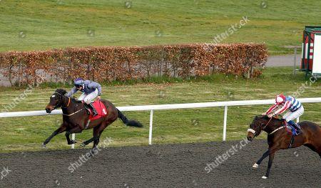 GREGORIAN GIRL (Jack Duern) beats CAUTHEN (right) in The racingtv.com Handicap Div2 Kempton