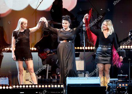Ashley Monroe, Angaleena Presley, Miranda Lambert, Pistol Annies. Ashley Monroe, from left, Angaleena Presley, and Miranda Lambert of the Pistol Annies perform at Loretta Lynn's 87th Birthday Tribute at Bridgestone Arena, in Nashville, Tenn
