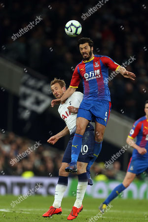 Stock Photo of James Tomkins of Crystal Palace and Harry Kane of Tottenham Hotspur during Tottenham Hotspur vs Crystal Palace, Premier League Football at Tottenham Hotspur Stadium on 3rd April 2019
