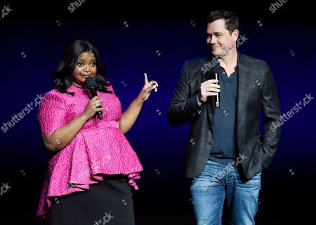 "Octavia Spencer, Tate Taylor. Octavia Spencer, left, star of the upcoming horror film ""Ma,"" and the film's director Tate Taylor appear during the Universal Pictures presentation at CinemaCon 2019, the official convention of the National Association of Theatre Owners (NATO) at Caesars Palace, in Las Vegas"