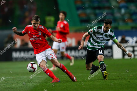 Sporting player Bruno Fernandes (R) in action against Benfica's Grimaldo during their Portugal Cup second leg semi final soccer match held at Alvalade Stadium, Lisbon, Portugal, 3 April 2019.