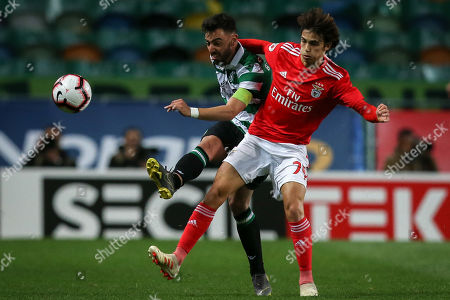 Sporting player Bruno Fernandes (L) in action against Benfica's Joao Felix during their Portugal Cup second leg semi final soccer match held at Alvalade Stadium, Lisbon, Portugal, 3 April 2019.