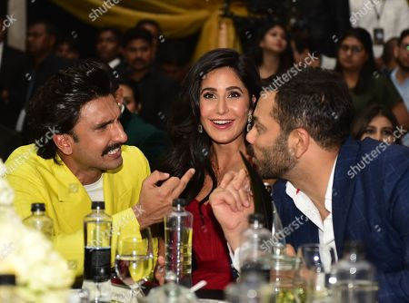 Bollywood actors Ranveer Singh and Katrina Kaif with filmmaker Rohit Shetty